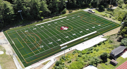Ariel photo of the new Hanover High School turf field