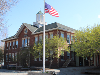 Front view of Marion Cross School outside at spring