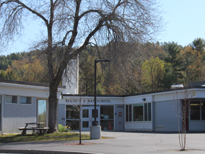 Outside view of Bernice A. Ray School in spring